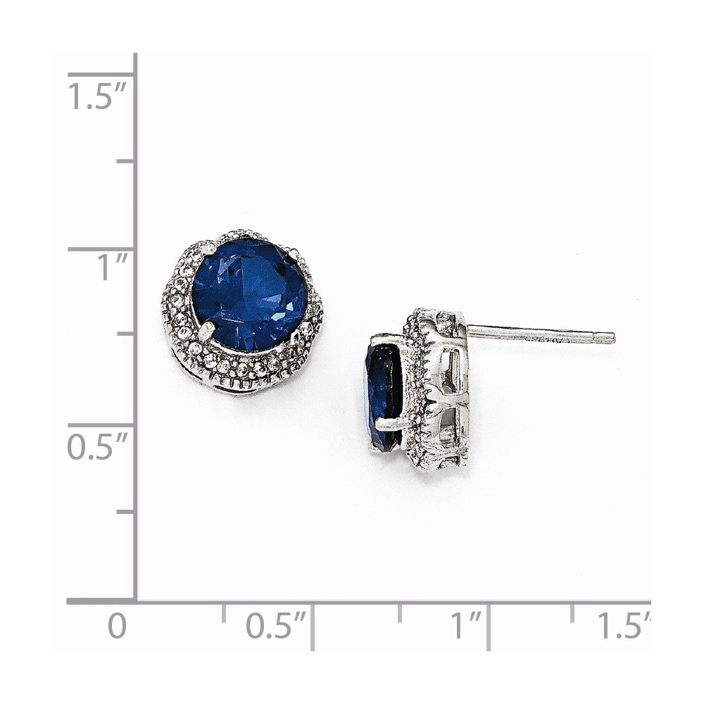 Cheryl M Sterling Silver Blue and White CZ Post Earrings One Size