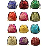 2500 Silk Brocade Pouch Jewelry Travel Drawstring Coin Purse Candy Bag 24pcs/set SND011