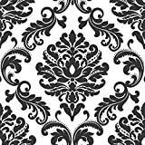 Tools & Hardware : Ariel Black and White Damask Peel And Stick Wallpaper