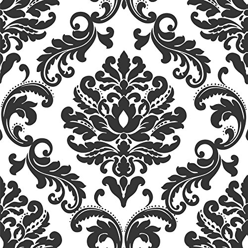 Ariel Black and White Damask Peel And Stick Wallpaper - Damask Vinyl Wallpaper