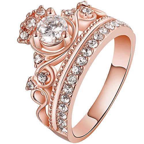 LWLH Jewelry Womens 18K Rose Gold Plated Fashion Cubic Zirconia CZ Princess Crown Tiara Ring Wedding Band Szie - Gold Band 18k Rose