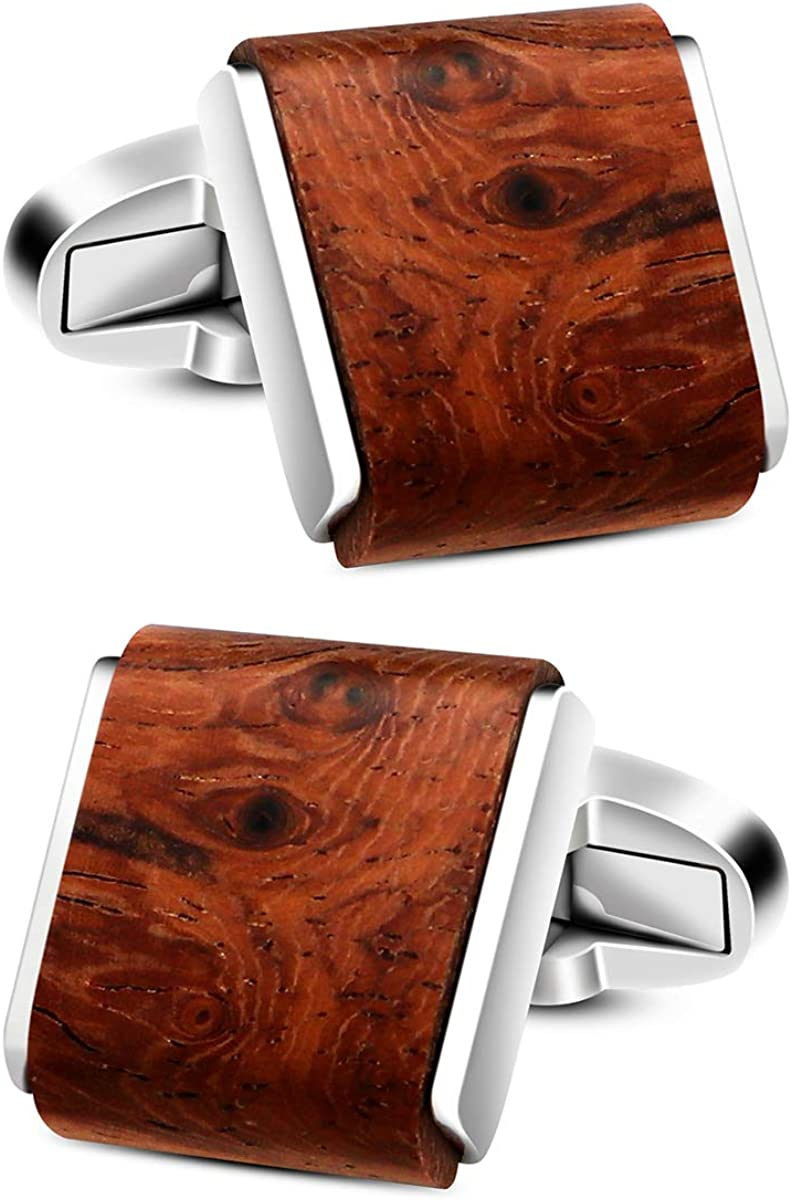 VIILOCK Mens Natural Handmade Rosewood Cufflinks Handcrafted Wooden Square Cuff Links