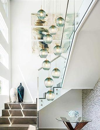 10 Bolas de cristal Lámpara de araña Lámpara colgante larga Edificio dúplex Lámpara grande Sala de estar Villa Hueco Lámpara de escalera minimalista moderna 40x200cm (color: gris): Amazon.es: Iluminación