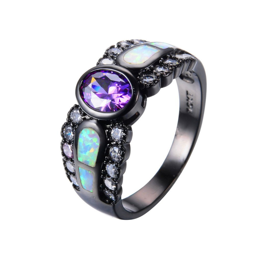 WOWJEW Purple Amethyst Ring White Fire Opal Rings Black Gold Promise Engage Rings Bague WOWJEW-Mystic-Topaz-2 2D77SFC125
