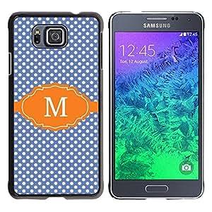 Be Good Phone Accessory // Dura Cáscara cubierta Protectora Caso Carcasa Funda de Protección para Samsung GALAXY ALPHA G850 // Polka Dot Blue Initial Name