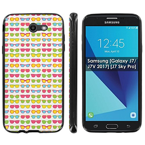 Samsung [Galaxy J7/J7V 2017] [J7 Sky Pro] Soft Mold [Mobiflare] [Black] Thin Gel Protect Cover - [Sunglasses] for Galaxy J7 [2017] [5.5