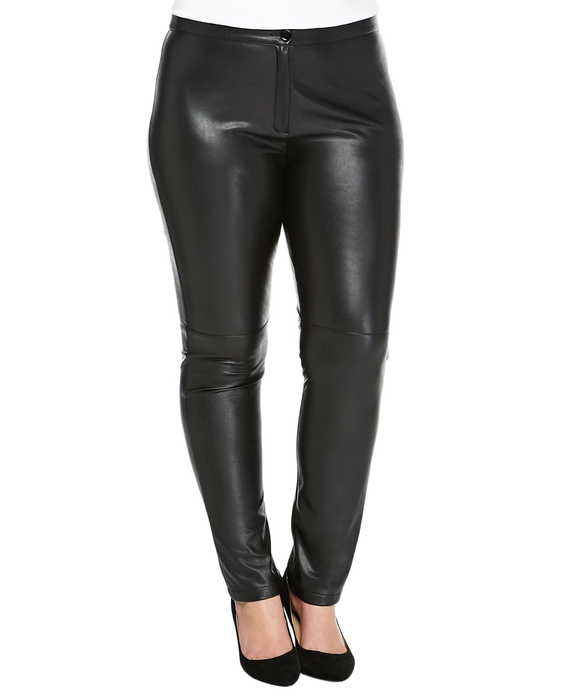 Marina Rinaldi Women's Roma Faux Leather Pants 22W / 31 Black