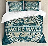 Ambesonne Modern Duvet Cover Set, Pacific Waves Surf Camp and School Hawaii Logo Motif with Artsy Effects Design, 3 Piece Bedding Set with Pillow Shams, Queen/Full, Khaki Slate Blue