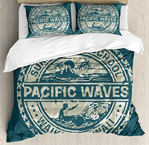 Ambesonne Modern Duvet Cover Set, Pacific Waves Surf Camp and School Hawaii Logo Motif with Artsy Effects Design, 3 Piece Bedding Set with Pillow Shams, Queen/Full, Khaki Slate Blue by Ambesonne