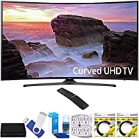Samsung UN65MU6500FXZA Curved 65 4K Ultra HD Smart LED TV (2017 Model) Plus Terk Cut-the-Cord HD Digital TV Tuner and Recorder 16GB Hook-Up Bundle