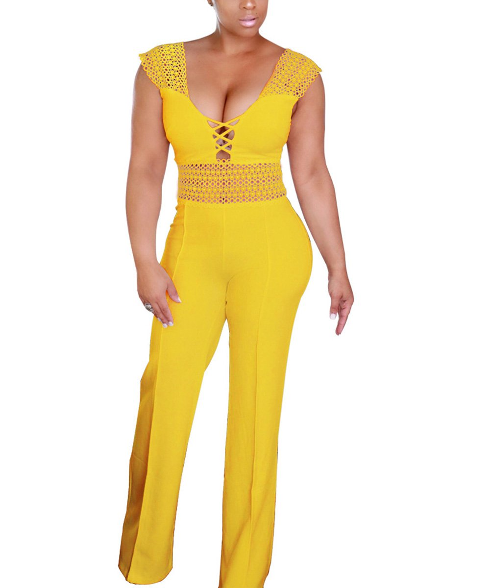 Pink-Lady Women's Sexy Hollow Out Lace Up High Waist Wide Leg Jumpsuits Rompers Long Pants Yellow XL