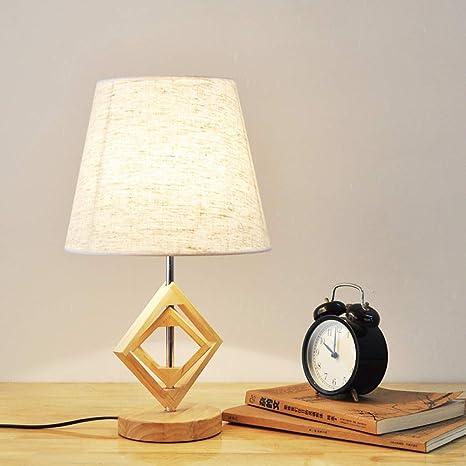 Lámpara de madera lámpara de mesita de noche dormitorio ...