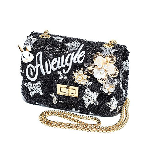 [CMK Trendy Kids Metallic Color Sequins Toddler Purse for Kids Girls with Solid Pearl Camellia Little Bunny and Embroidered Letters Patches (black] (Letter L Costumes)