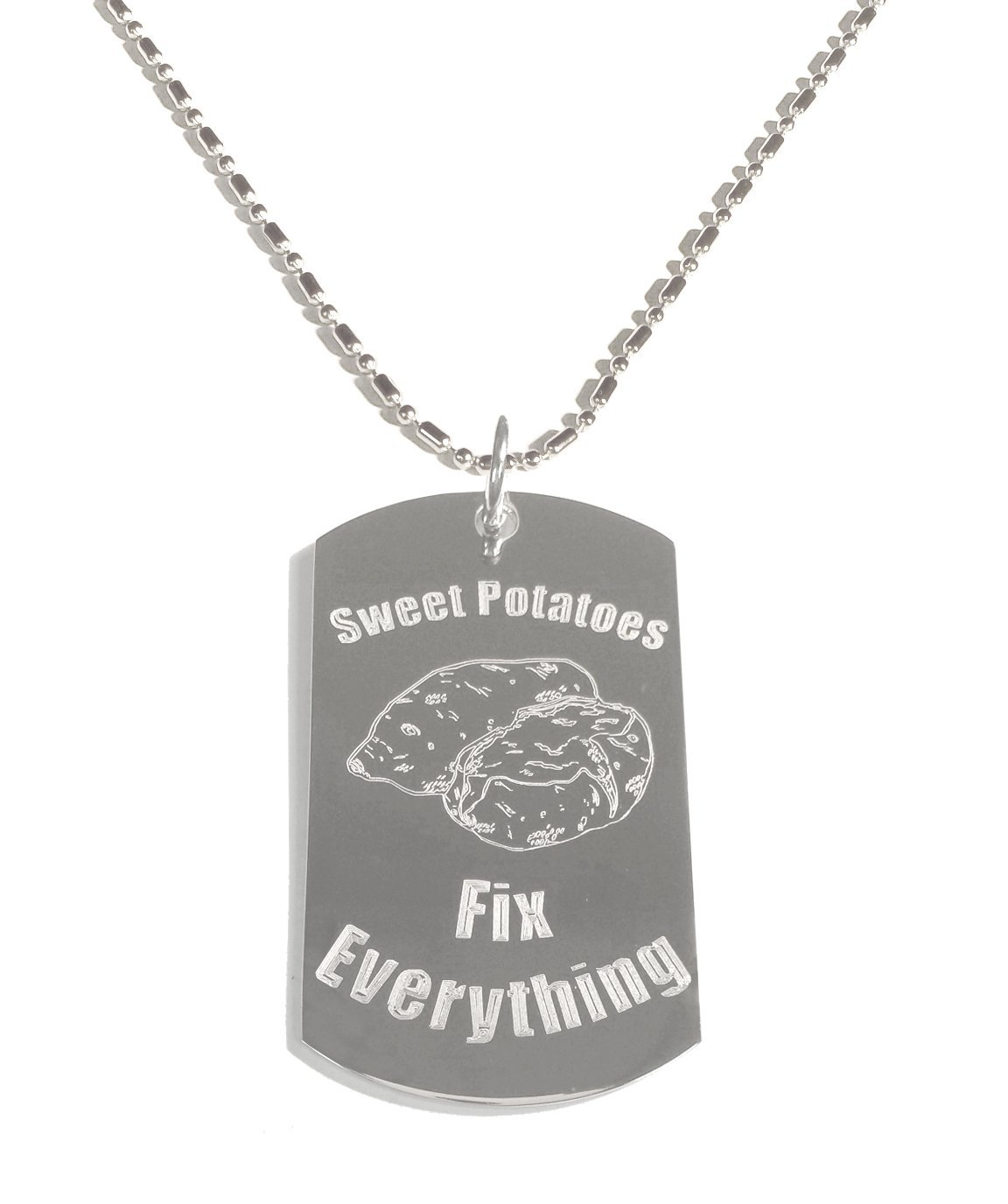 Hat Shark Sweet Potatoes Fix Everything - Luggage Metal Chain Necklace Military Dog Tag