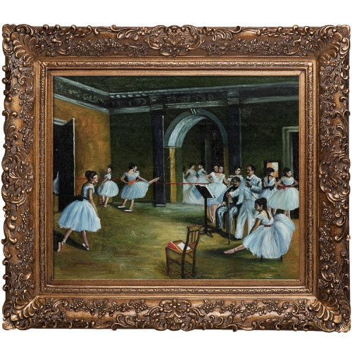 overstockArt Degas Dance Studio at The Opera Oil Painting with Burgeon Gold Frame, Organic Pattern Facade with Gold Finish by overstockArt