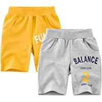 HILEELANG Little Toddler Boys' Shorts 2-Pack Chino Short Summer Cotton Casual Pants with Pockets 2-10Y