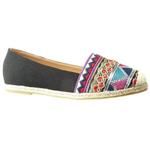 897cbdaa Angkorly - Zapatillas Moda Alpargatas Mocasines Slip-on Suela de Zapatillas  Mujer Bordado Brillante fantasía tacón Plano: Amazon.es: Zapatos y  complementos