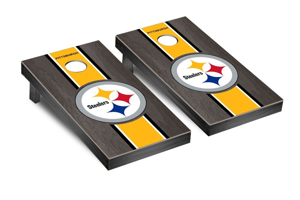 NFL Pittsburgh Steelers Onyx Stained Stripe Version 2 Football Corn hole Game Set, One Size by Victory Tailgate (Image #1)
