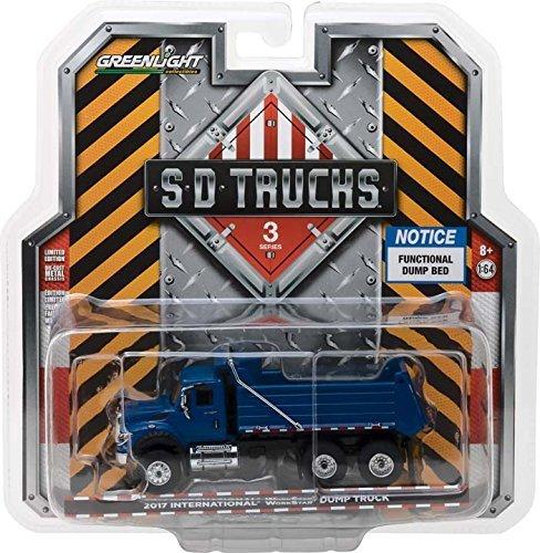 - New 1:64 GREENLIGHT SD TRUCK SERIES 3 COLLECTION - 2017 International Workstar Construction Dump Truck Blue Diecast Model Car By Greenlight