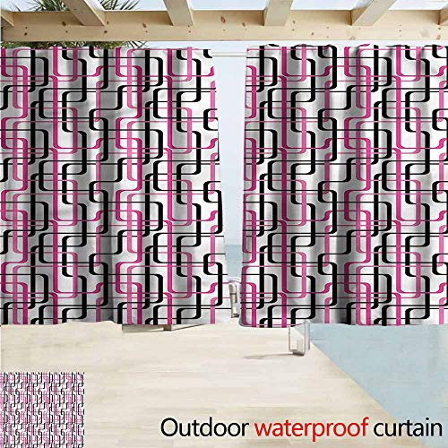 MaryMunger Custom Curtain Geometric Wavy Lines Funky Darkening Thermal Insulated Blackout W72x72L Inches