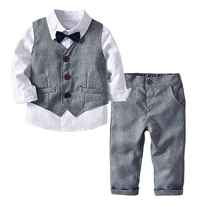 e154ddcbc38e56 Weentop Ragazzi per Bambini Set di Vestiti Grigio Camicia e Gilet Pantaloni  Abbigliamento Completo Abiti da