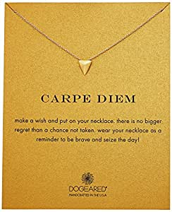 "Dogeared Reminder Carpe Diem Pyramid Gold Chain Necklace, 16"" + 2"" Extender"