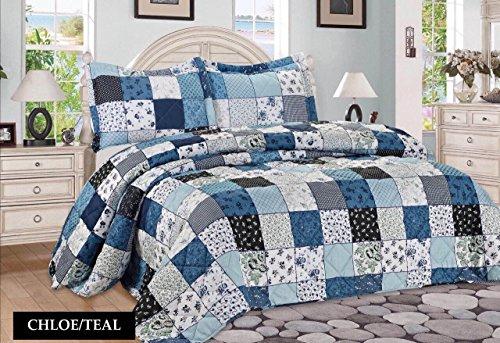 3tlg. Patchwork Tagesdecke Blau Bettüberwurf Überwurf für Doppelbett Blau 230x250 Quilt - Plaid Türkis