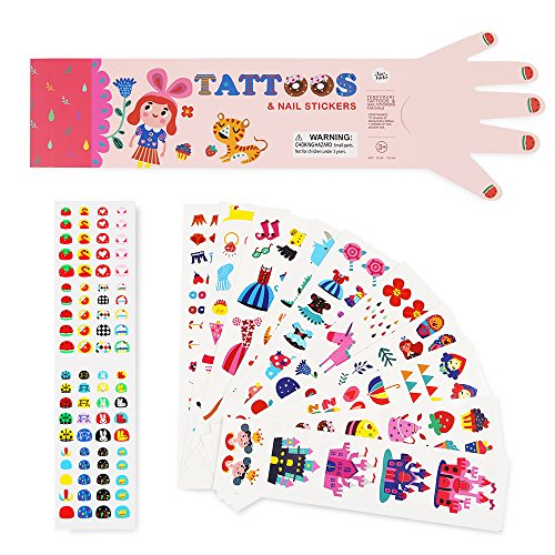 Price comparison product image Jar Melo Temporary Tattoos and Nail Stickers for Girls; Colorful Nail Art for Kids; Baby's Nail Decals, Cartoon Tattoo Stickers; Waterproof and Non-Toxic, Pink; 180+Stickers