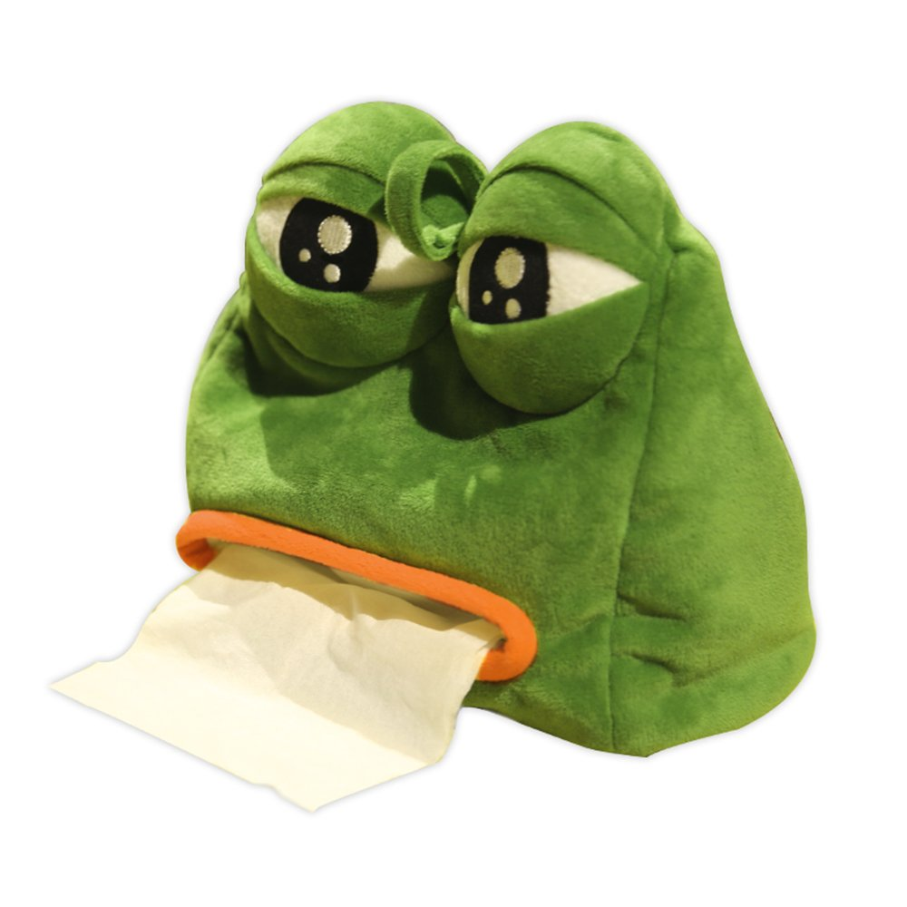 Rain's Pan Cartoon Anime Emoji Sad Frog Plush Stuffed Animal Tissue Holder Army Green