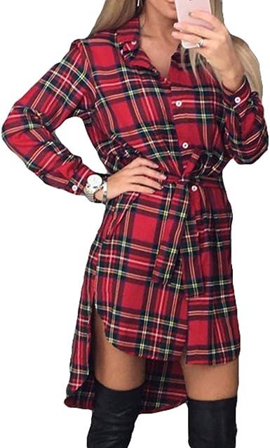 Juleya Vestido a Cuadros de Mujer Camisa de Manga Larga Blusa Casual de Dobladillo Irregular Túnica Elegante Mini Vestido