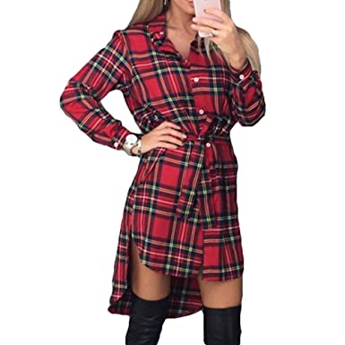 b63efc26 Yying Women Plaid Dress Long Sleeve Blouse Oversized Tops Shirt Pullover  Loose Tops Button Down Long Tops High Low Hem Tunic: Amazon.co.uk: Clothing
