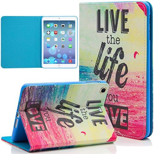iPad Mini Case, Dteck(TM) Cartoon Cute Paint PU Leather Flip Folio Magnetic Stand Case with Auto Wake/Sleep Smart Cover for Apple iPad Mini/ Mini 2 Retina/ Mini 3 (02 Charming Twilight Sea)