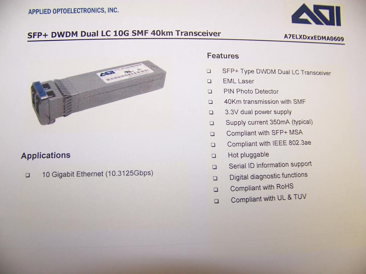 SFP-10G-DW-46.12 Arista Compatible Factory New