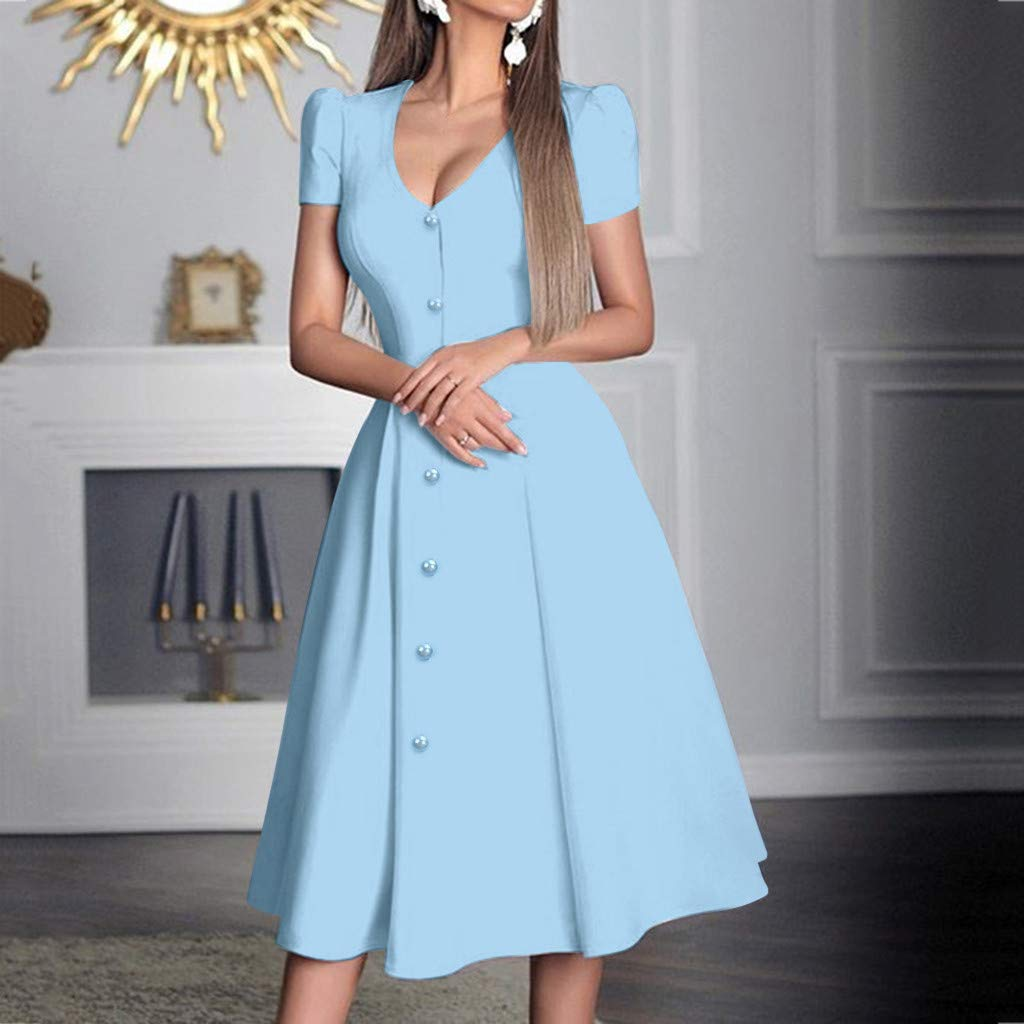 Women Deep V Neck Swing Long Dress Summer Fashion Short Sleeve Button Aline Flowy Solid Maxi Party Club Dresses (Small, Blue) by LANTOVI Women Dress (Image #2)