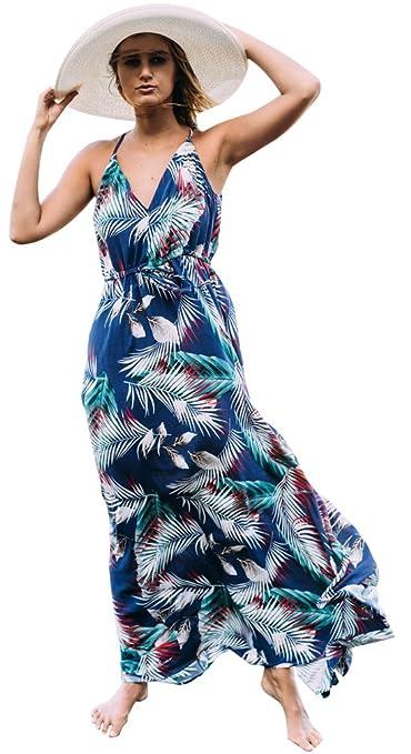 Fuxiang Vestidos Boho Largos Chic Mujer Verano Playa Estampado Maxi Bohemios Vestido Señora Strappy Imprimen V Cuello Vestir Patrón Casual Etnicos Bohemio ...