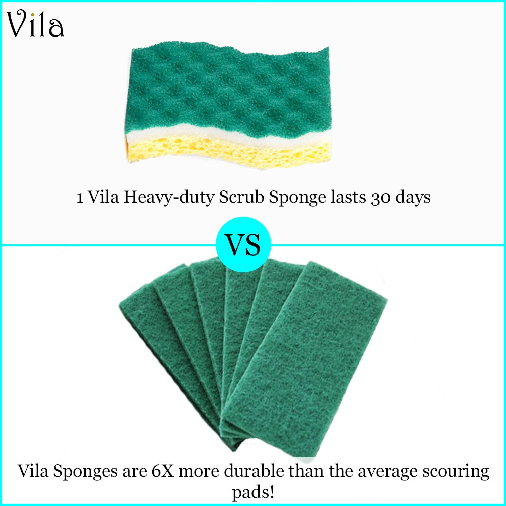 Vila 6-Pack Scrub Sponge -- With Triple-Cleaning system - Heavy-duty and Odor-Resistant - Tough on Grease but gentle on delicate surfaces - 1 Pad Lasts over a Month