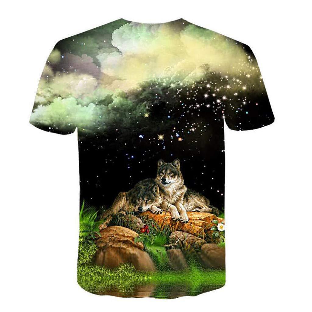 Men 3D Printing T-Shirt,Jchen Summer Mens Teen Boys Short Sleeve 3D Wolves Print Casual Pullover Tees Shirt Tops (M/US/EU Size:S, Black) by Jchen Men T-shirt (Image #2)
