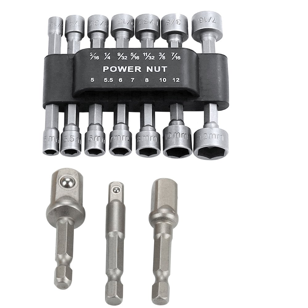 Breynet 3 pcs Hex Shank Square Nut Driver Power Drill Bit Extension Socket Adapter Set for Cordless Drill + 14pcs Power Nut Driver Drill Bit Set Metric Socket Wrench Screw Set 1/4'' Driver Hex