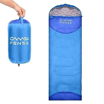 CampFENSE Sacos de Dormir (180 ×75 cm,Temperatura: 30-60 ℉) Ultraligero, Duradero y cómodo, Incluye Bolsa de compresión (Azul Claro): Amazon.es: Deportes y ...