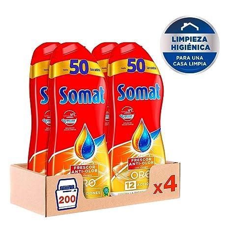 Somat Oro Gel Lavavajillas Vinagre – Pack de 4, Total: 200 lavados ...