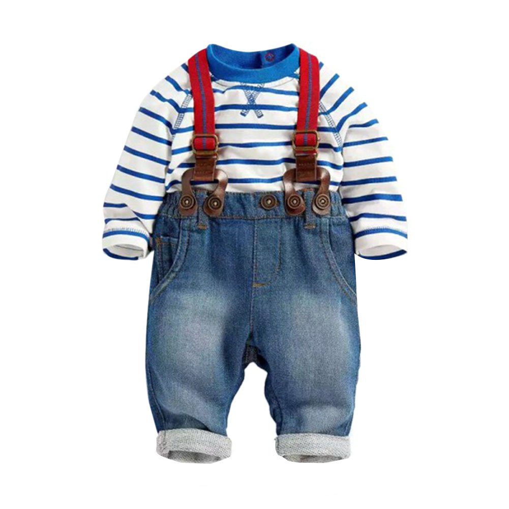 PanDaDa Baby Boys Pants Sets Striped T-shirt Top Jeans Bib Pants Overall Outfis (0-1 years)