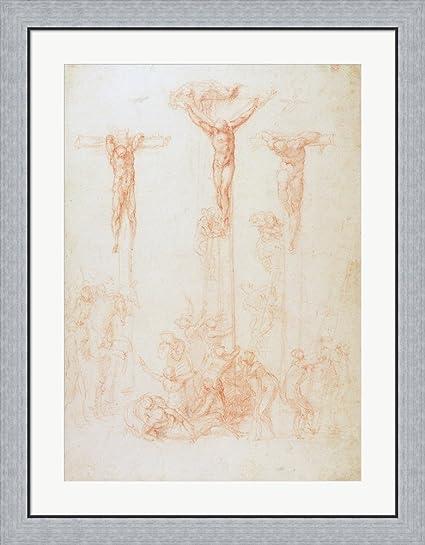 Amazon.com: Study of Three Crosses by Michelangelo Buonarroti Framed ...