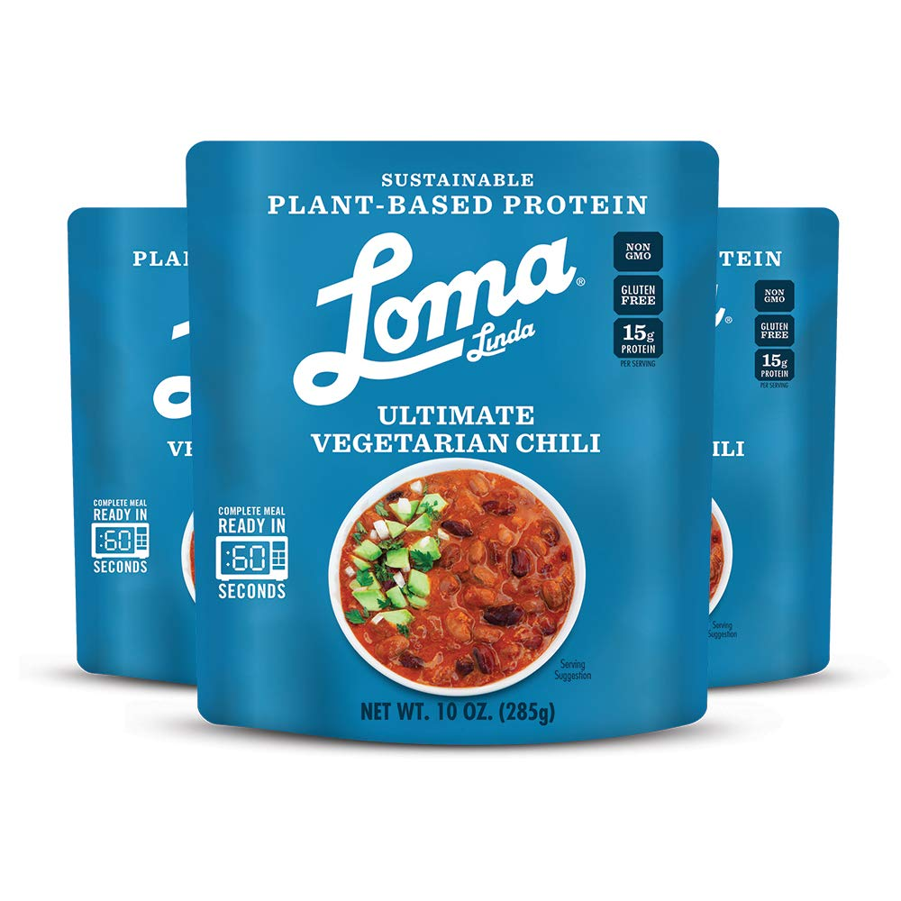 Loma Linda Blue - Plant-Based Complete Meal Solution - Ultimate Vegetarian Chili (10 oz.) (Pack of 6) - Non-GMO, Gluten Free