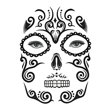41b84425f Buy Halloween Day of Dead Temporary Face Tattoo Kit Skull Cobweb Flower  Sticker - Facial Makeup, as described Online at Low Prices in India -  Amazon.in