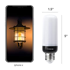 Omicoo Updated Slim LED Flame Effect Light Bulb(2 Pack), 4 Modes Flame Light Bulbs with Upside Down Effect, Black E26/27 Base, Yellow Flame Bulb for Vintage Atmosphere Festival Gift (Color: Slim Yellow of 2 Pcs)