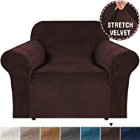 Thick Velvet Sofa Cover 1 Seater Covers for Living Room Armchair Covers Sofa Chair Covers Slipcovers Furniture Covers for Chairs, Soft Spandex Fabric Washable (1 Seater, Brown)