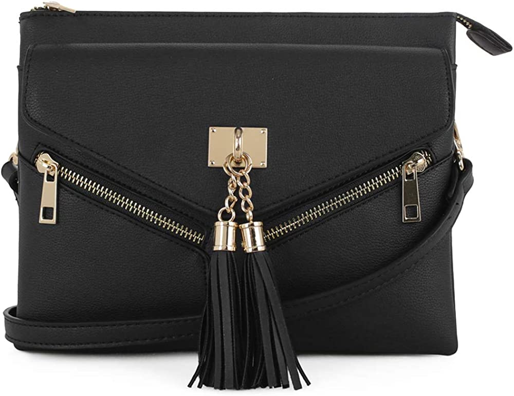 EMPERIA Estelle Double Compartment Crossbody Bag with Tassel for Women