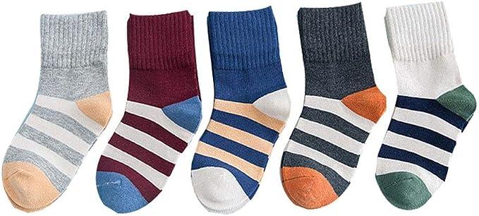 CyFe 5 pares de calcetines de algodón para niños de diferentes ...