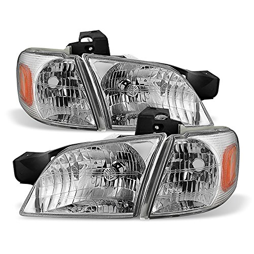 VIPMOTOZ Chrome OE-Style Headlight & Turn Signal Corner Side Marker Lamp Assembly For 1997-2005 Chevy Venture Oldsmobile Silhouette Pontiac Montana Trans Sport, Driver & Passenger Side