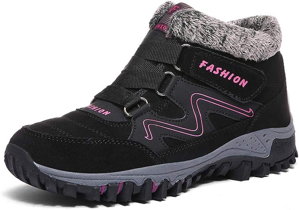 WOMEN/'S LADIES GIRLS FASHION FUR SNOW WALKING HIKING CASUAL SHOES BOOTS BLACK